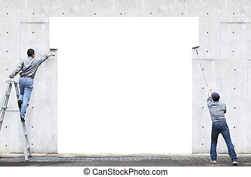dos, trabajadores, ser, pintura, blanco, área, en, la pared