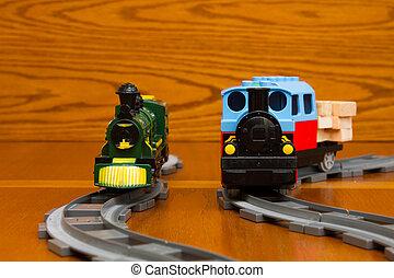 dos, trenes del juguete, en, el, gris, barandas