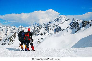 dos, trepadores, en, el, himalayan, montaña