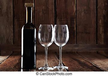 dos, vacío, botella, anteojos, rojo, vino