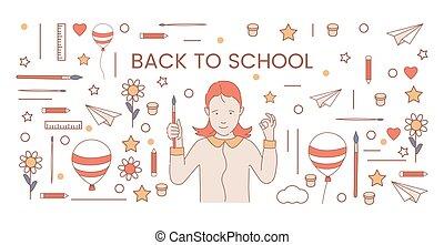 dos, vecteur, design., dessin animé, art, bannière, symboles, illustration., école, entouré, girl, tenue, pinceau