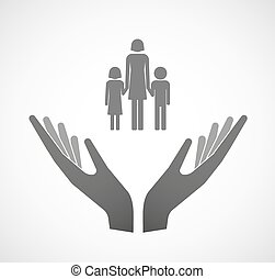 dos, vector, manos, ofrecimiento, un, hembra, padre soltero familia, pictogram
