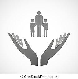 dos, vector, manos, ofrecimiento, un, macho, padre soltero familia, pictogram