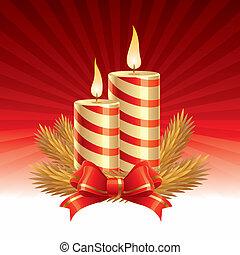 dos, velas de navidad, -, vector, ilustración