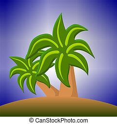 dos, verde, árboles de palma, en, un, isla, caricatura