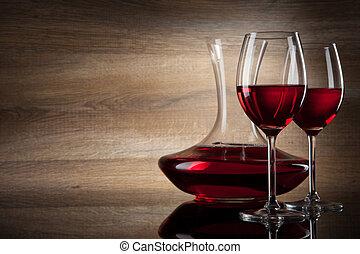 dos, vidrio vino, y, jarra, en, un, de madera, plano de fondo