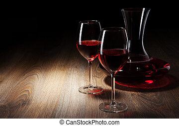 dos, vidrio vino, y, jarra, en, un, tabla de madera