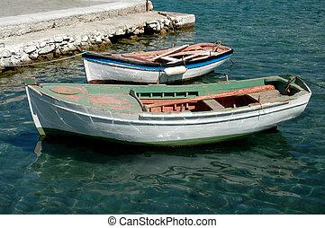 dos, viejo, barcos