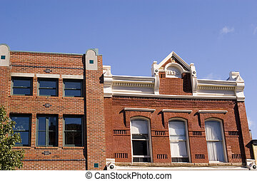 dos, viejo, edificios