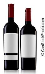 dos, vino rojo, botellas