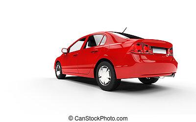 dos, voiture, rouges, business, vue