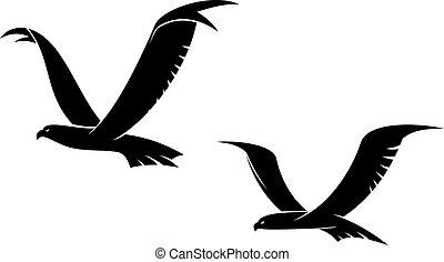 dos, vuelo, aves, en, silueta