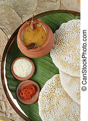 dosa, セット, インド, 南, パンケーキ