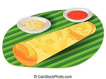 Illustration of dosa and curry in a plate