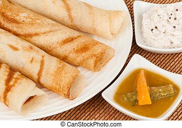 dosa, indio, sambar, chutney