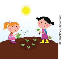 dosadzenie, dzieci, ogród, rośliny