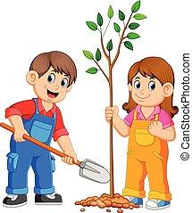 dosadzenie, dzieciaki, drzewo, dwa