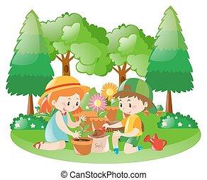 dosadzenie, dzieciaki, drzewo, ogród, dwa