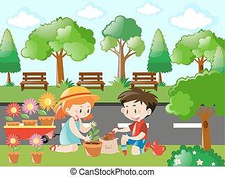 dosadzenie, dzieciaki, drzewo, scena