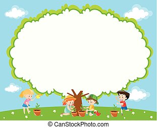 dosadzenie, dzieciaki, ogród, ułożyć, drzewo, szablon