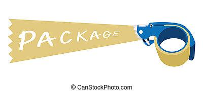 dosificador, cinta adhesiva, palabra, paquete