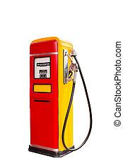 dosificador, combustible, blanco, aislado, retro