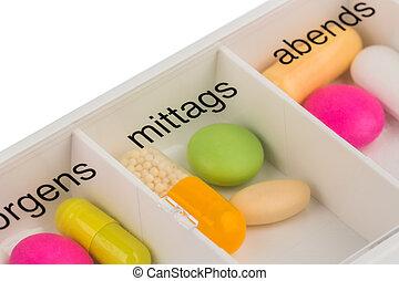 dosificador, tabletas, tableta