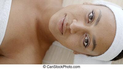 doskonały, świeży, skóra, twarz
