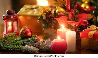 doskonały, celebrowania, zima, płonący, wieniec, candles.,...
