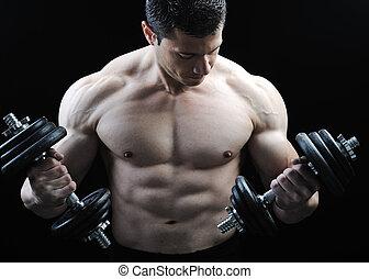 doskonały, ciało, dumbbells, straszliwy, -, bodybuilder, przedstawianie, samiec
