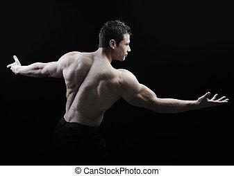 doskonały, ciało, straszliwy, -, bodybuilder, przedstawianie, samiec