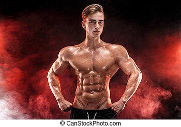 doskonały, do góry., biceps, plecy, bodybuilder, skrzynia, mięsień trójgłowy, dym, siła robocza, wartość bezwzględna, przedstawianie, silny człowiek