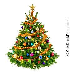 doskonały, drzewo, boże narodzenie, barwny