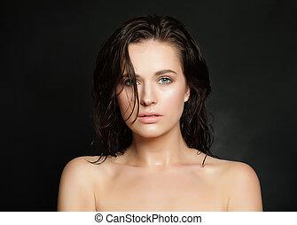 doskonały, fason, piękno, mokry, młody, włosy, kobieta, czarnoskóry, skóra, portret