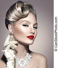 doskonały, fryzura, kobieta, piękno, makijaż, retro