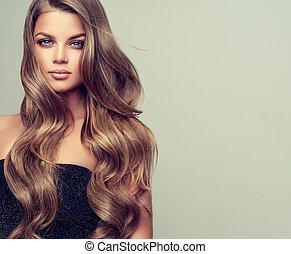 doskonały, kobieta, hairstyle., kompensować, młody, elegancki, wspaniały, portret