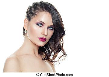 doskonały, kobieta, kędzierzawy, makijaż, odizolowany, włosy, modny, wzór, biały