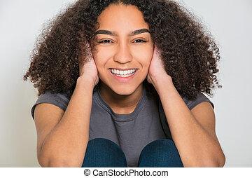 doskonały, kobieta, młody, prąd, nastolatek, zęby, mieszany, dziewczyna
