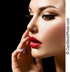 doskonały, kobieta, makijaż, piękno