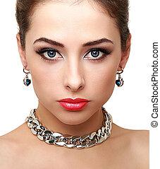 doskonały, kobieta, odizolowany, makeup., jasny, closeup, portret