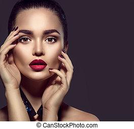doskonały, kobieta, piękno, makijaż, brunetka, święto