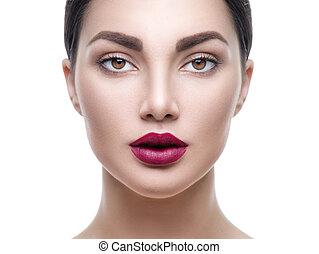 doskonały, kobieta, piękno, makijaż, odizolowany, twarz, patrząc, aparat fotograficzny, white., portret, dziewczyna, wzór