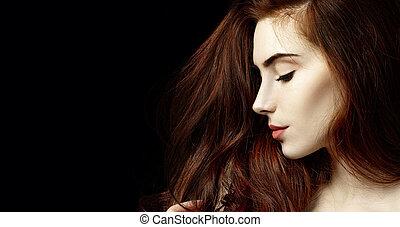 doskonały, kobieta, piękno, skin., rudzielec, portret