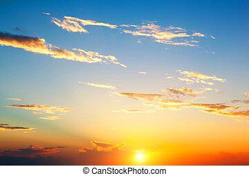doskonały, niebo zachodu słońca, tło.