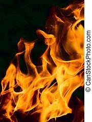 doskonały, ogień, -, tło, płomień