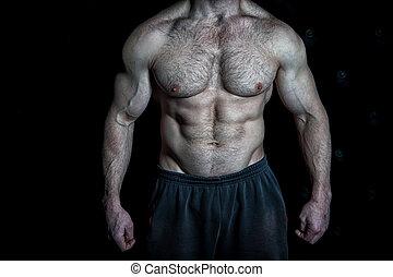 doskonały, ogromny, mięśnie, treningi, pakuje, look., nutrition., sześć, spojrzenia, muskularny, wyczerpujący, tło., czarnoskóry, wynik, poprawny, cyple, tułów, osiągnąć, pociągający
