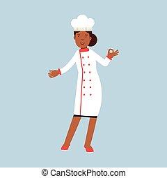 doskonały, ok, samica, udzielanie, litera, ilustracja, jednolity, mistrz kucharski, wektor, zachwycający, kok, biały, gest