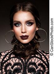 doskonały, piękna kobieta, piękno, makeup., brunetka, make-up., profesjonalny, święto