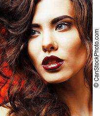 doskonały, piękna kobieta, piękno, makijaż, charakteryzacja, profesjonalny, święto