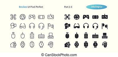 doskonały, sieć, 30, 2-3, ikony, prosty, 2x, wektor, piktogram, kreska, urządzenia, stały, well-crafted, część, ruszt, cienki, grafika, ui, apps., pixel, minimalny